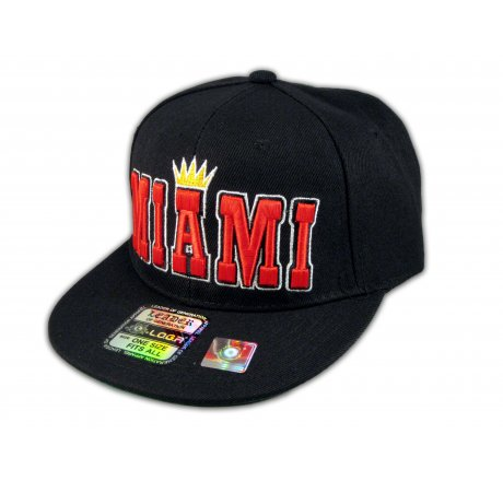 Miami Snapback Black Baseball Adjustable Hat Cap Flat Bill