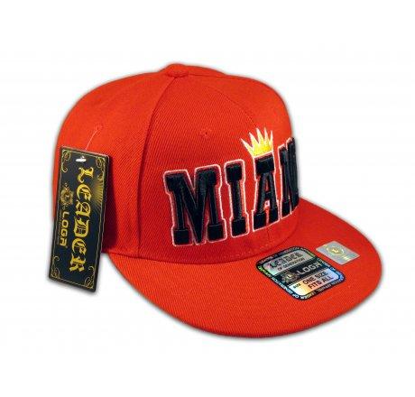 Miami Snapback Red Baseball Adjustable Hat Cap Flat Bill