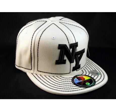New York NY on White Black Flat Brim Ball Cap Hip Hop Style Hat
