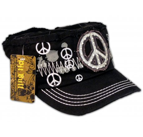 Peace Signs on Black Army Cadet Hat Castro Military Cap