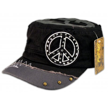 Peace Signs on Black Army Cadet Hat Gray Bill Vintage Castro Cap