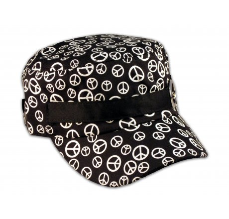 Black Cadet Cap with Peace Signs and Buckle