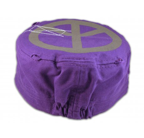 Peace Sign on Purple Army Cadet Hat Vintage Castro Cap