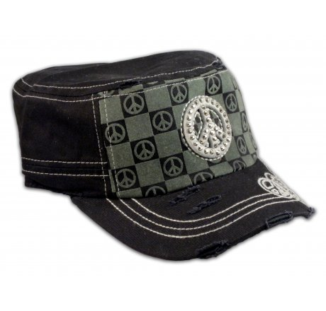 Peace Sign on Checker Board on Black Army Cadet Hat Military Cap