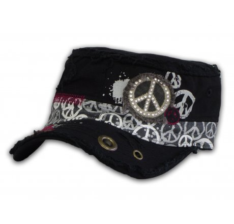 Peace Sign on Black Cadet Cap with Grommet