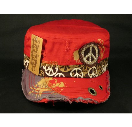 Peace Sign on Red Cadet Cap Vintage Army Hat Jewels Grommets