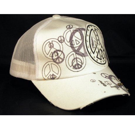Peace Sign on White Trucker Cap Snapback Hat with Mesh Back