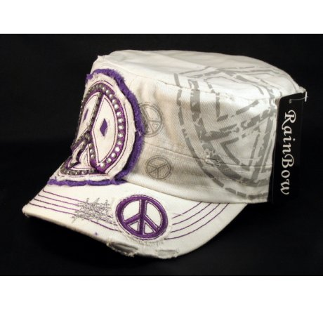 Peace Sign White Purple Cadet Castro Hat Vintage Military Army