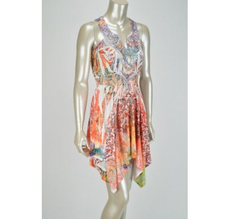 Side - Multicolor Peach, Pink and Orange Dress with Lace Patch Neckline