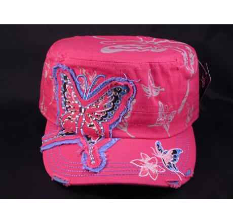 Butterfly Pink Army Cadet Castro Cap Military Hat Vintage Distressed