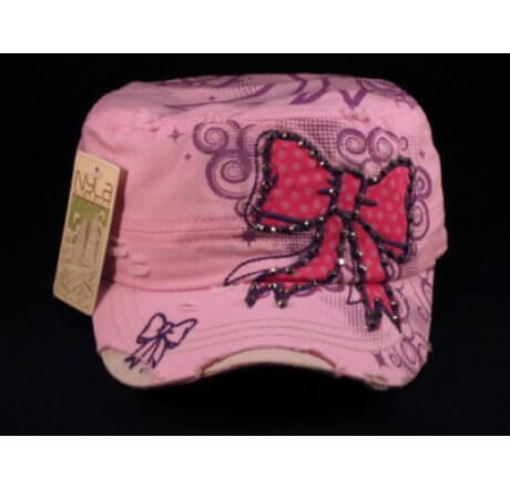 Red Bow on Pink Cadet Cap Distressed Military Army Hat