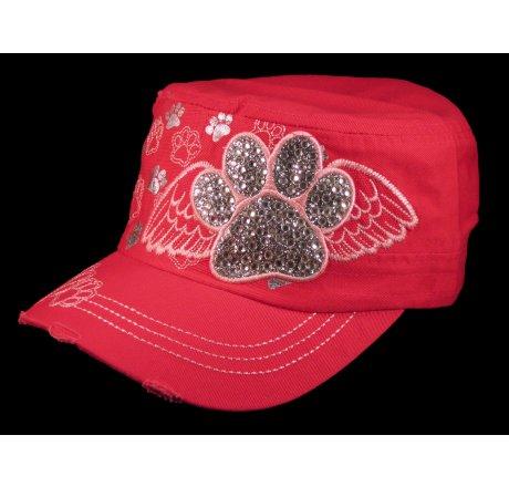 Paw Prints on Wings on Pink Cadet Cap Vintage Distressed Jewels