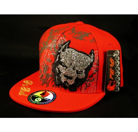 Pit Bull on Red Flat Brim Hip Hop Hat Bling Jewels Embroidered