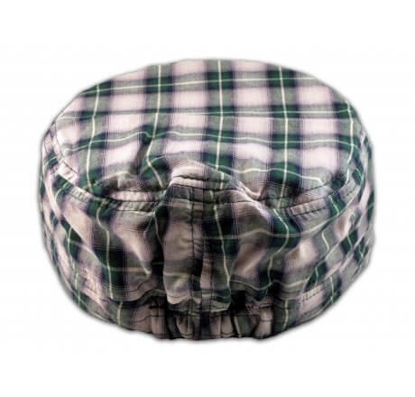 Cross on Green Plaid Cadet Cap Military Hat Distressed Visor