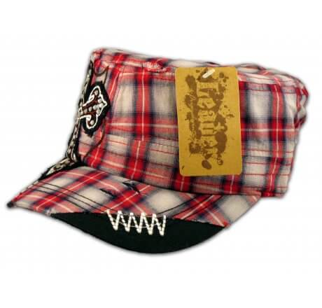 Cross on Red Plaid Cadet Cap Military Hat Distressed Visor