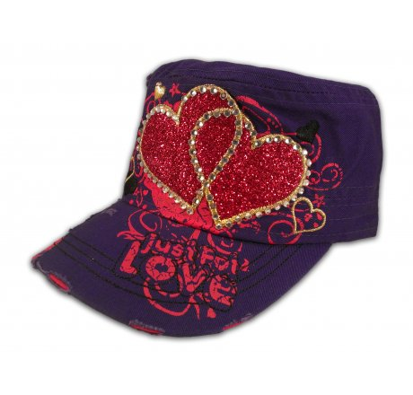 Pink Hearts on Purple Cadet Cap Army Hat Vintage Distressed Jewel