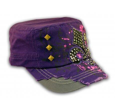Fleur-de-lis on Purple Cadet Cap Army Hat Distressed Visor Jewel