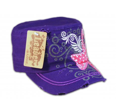 Purple Breast Cancer Cadet Cap Distressed Military Army Vintage Hat