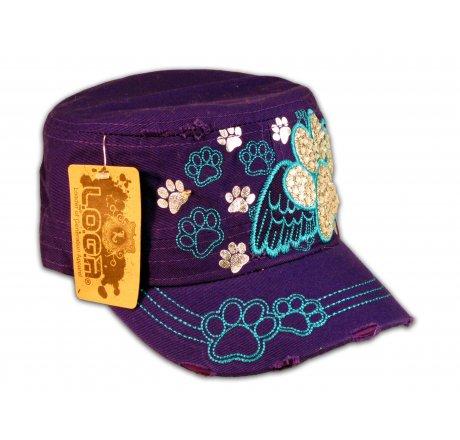 Paw Prints on Wings on Purple Cadet Cap Vintage Distressed Jewels