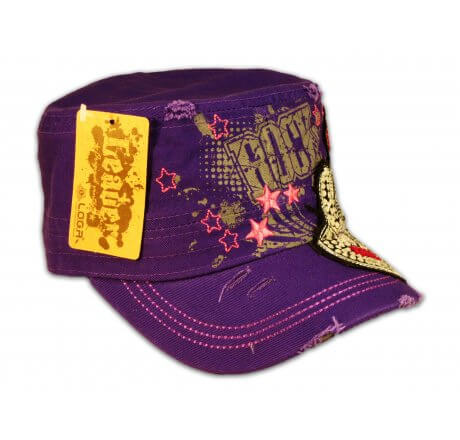 Rock Guitar on Purple Cadet Cap with Vintage Distressed Visor