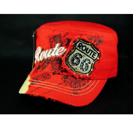 Red Route 66 Cadet Castro Cap Vintage Military Army Hat Distressed