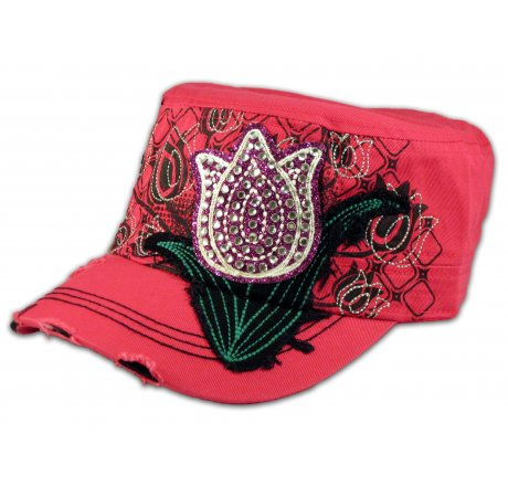 Purple Rose Bud on Pink Cadet Cap Military Hat Distressed Visor