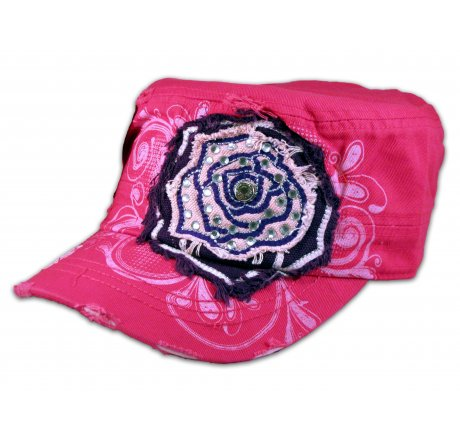 Pink Rose on Pink Cadet Cap Military Hat Distressed Visor