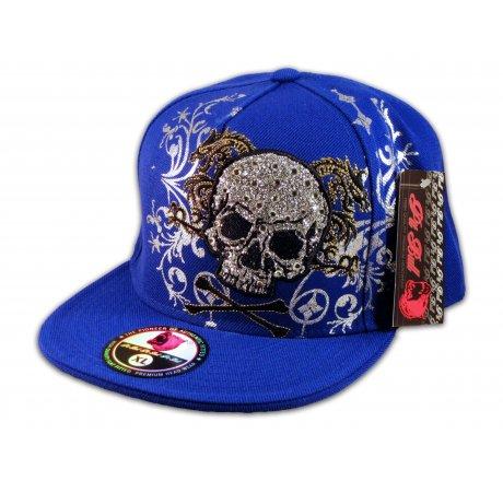 Skull and Crossbones on Blue Flat Brim Hip Hop Hat Bling Jewels