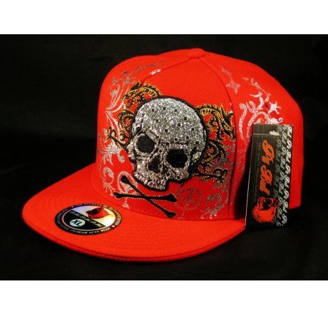 Skull and Crossbones on Red Flat Brim Hip Hop Fitted Hat Jewels