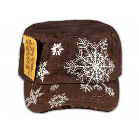 Snowflake on Brown Military Hat Cadet Cap
