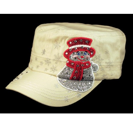Christmas Snowman Stone Cadet Castro Hat Military Army Cap Jewels