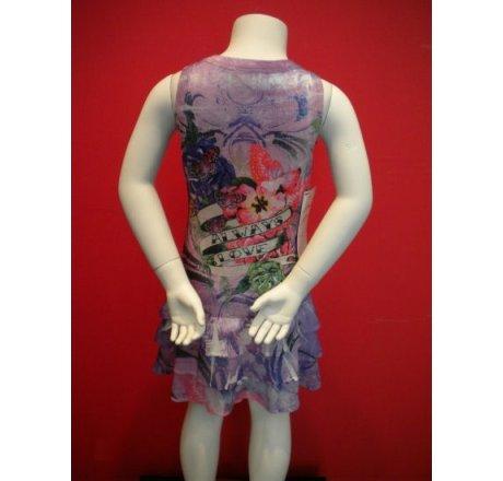Multicolor Sleeveless Span Ruffle Dress with Rhinestones