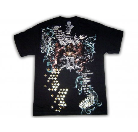 Utop Designer Royal Spirit Crest Black Foil T-Shirt
