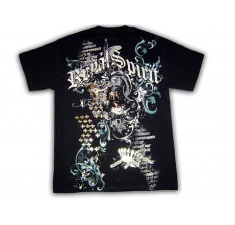 Utop Designer Royal Spirit Crest Black Foil T-Shirt