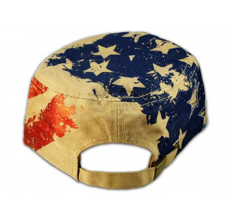 Khaki Stars and Stripes Cadet Castro Cap Vintage Army Hat Distressed