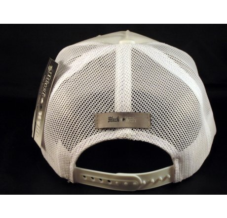 Black Star on White Trucker Cap Snapback Hat with Mesh Back