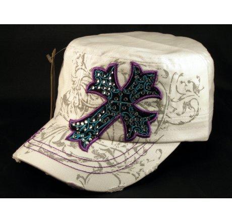 Cross on White Cadet Hat Vintage Army Cap Jewels Distress Visor