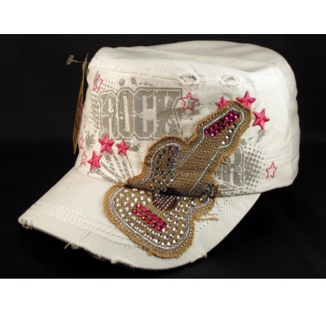 Rock Guitar on White Cadet Cap with Vintage Distressed Visor