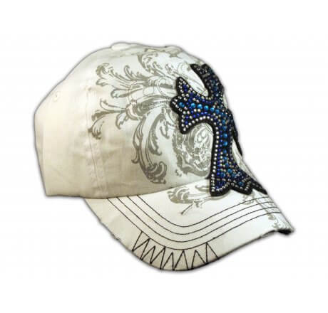 Cross White Ball Cap Vintage Visor Jewel Stitching