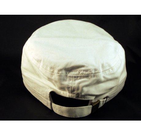 White Cadet Cap Cross Army Hat Vintage Distressed Visor Jewel