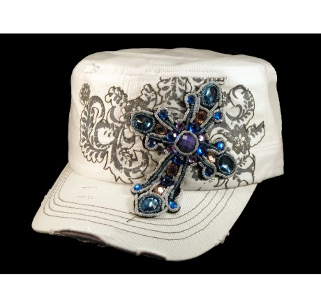 Jeweled Cross on White Cadet Castro Hat Military Army Cap
