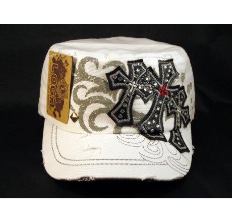White Cadet Cap Black Triple Cross Studs Military Army Hat