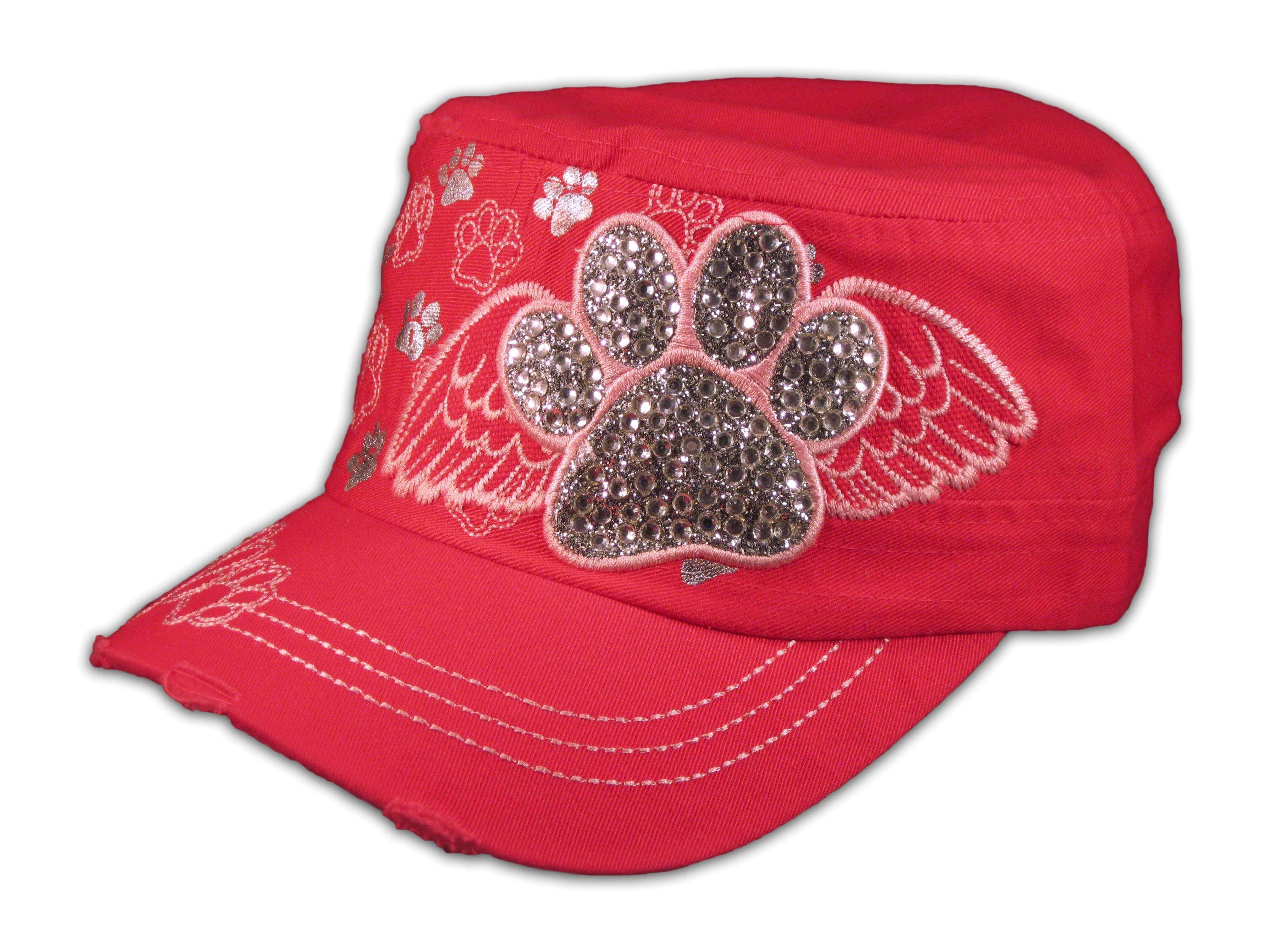 Paw Prints on Wings on Pink Cadet Cap Vintage Distressed