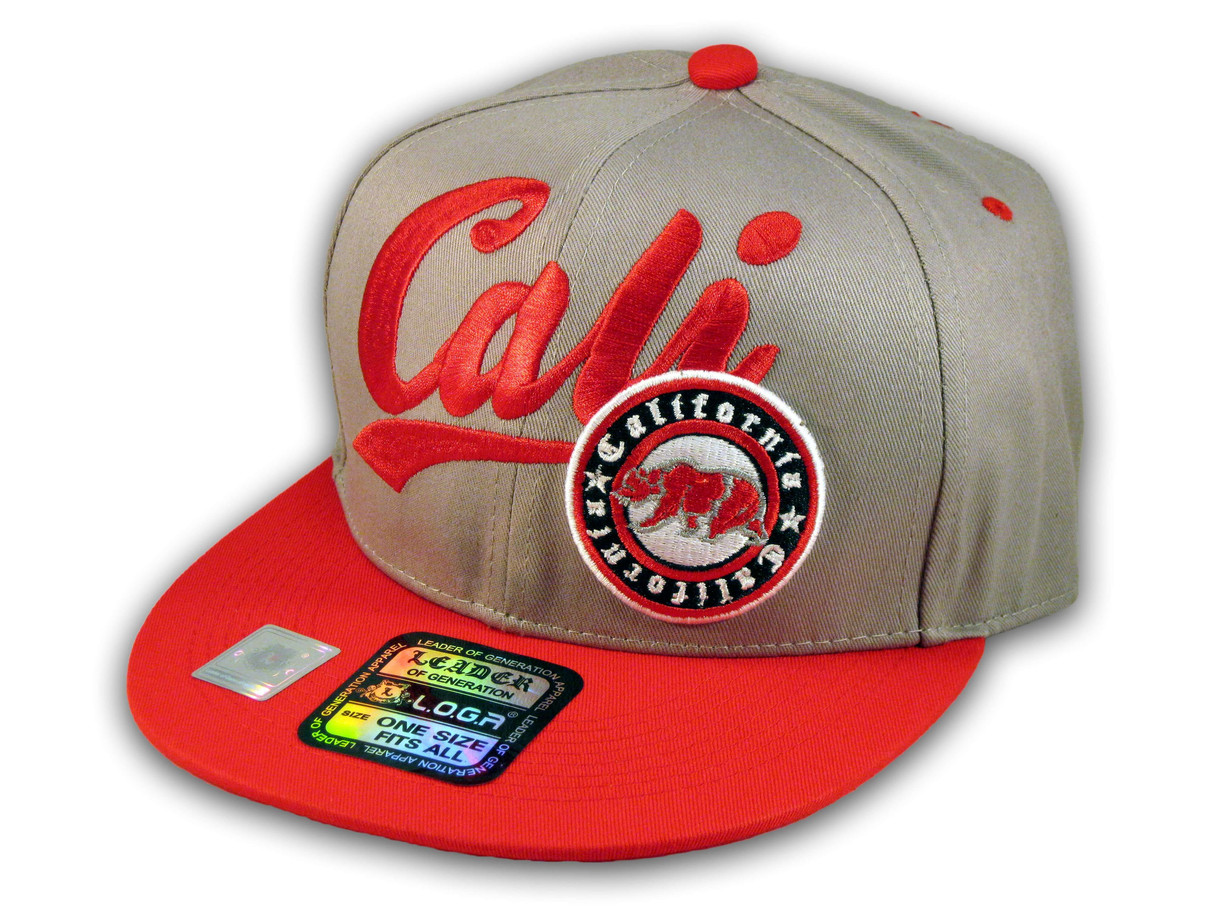 5f7fad2f6 Gray and Red California Republic Snapback Embroidered Hat 3D Cali ...