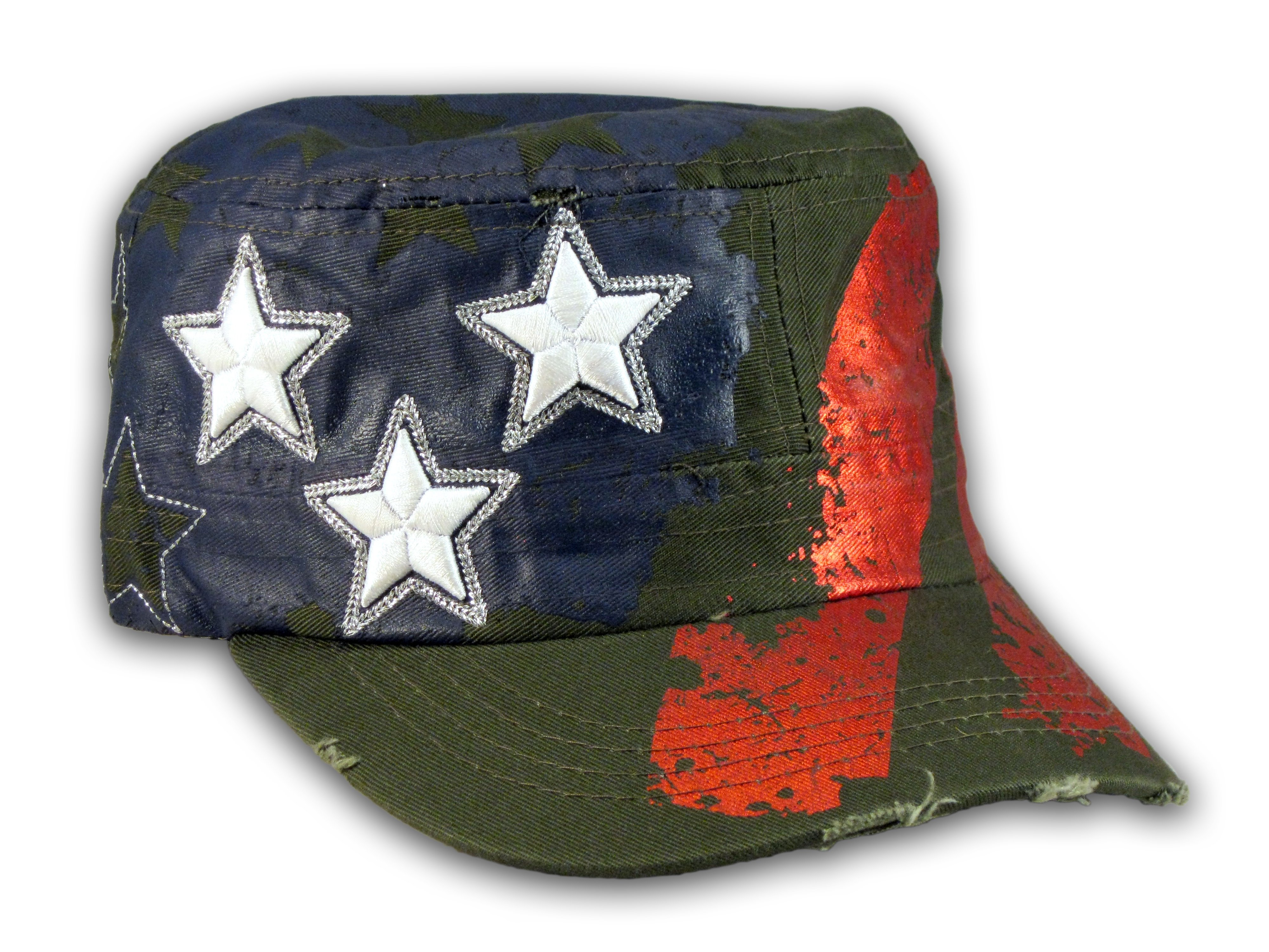 40e679bb00a Olive Green Stars and Stripes on Cadet Cap Vintage Army Hat Distressed ...