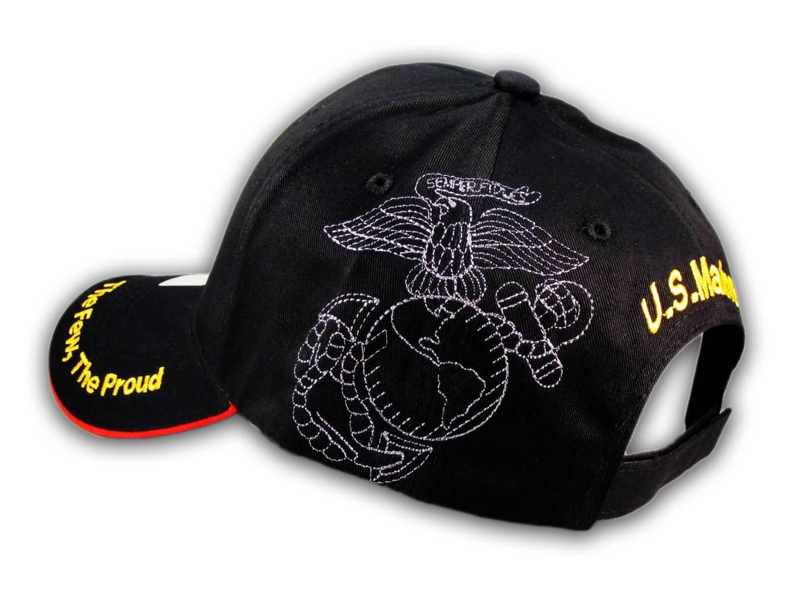 Black US Marine Corp Hat USMC Baseball Cap - Printed T-Shirts 97d5ee9b4f9