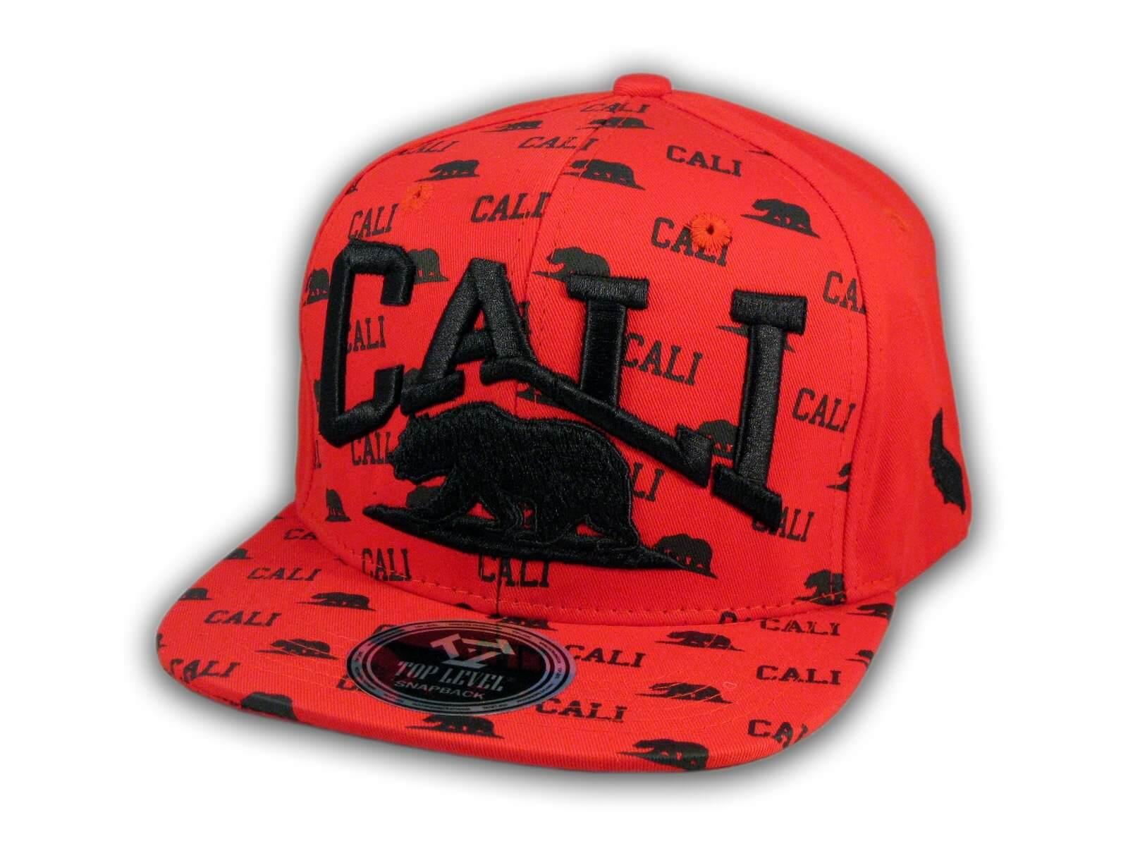 272e314c California Republic Bear Red and Black Flat Bill Hat - Printed T ...