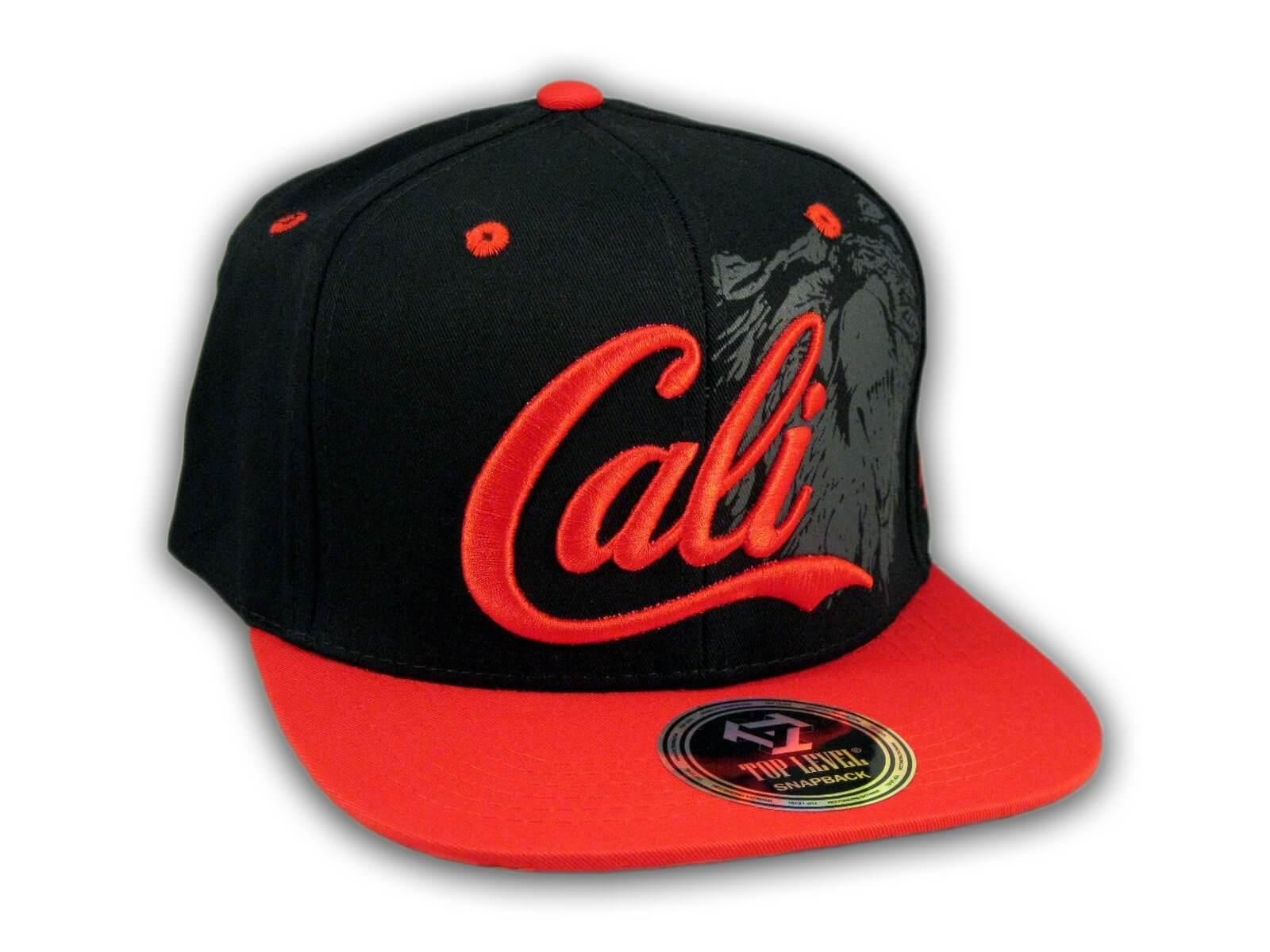 9c48fccb Black and Red Cali Bear Snapback Hat - Printed T-Shirts, Cadet Caps ...