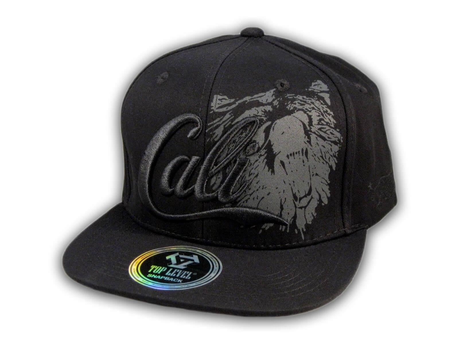 Black on Black Cali Bear Snapback Hat - Printed T-Shirts 8cabbc5386e