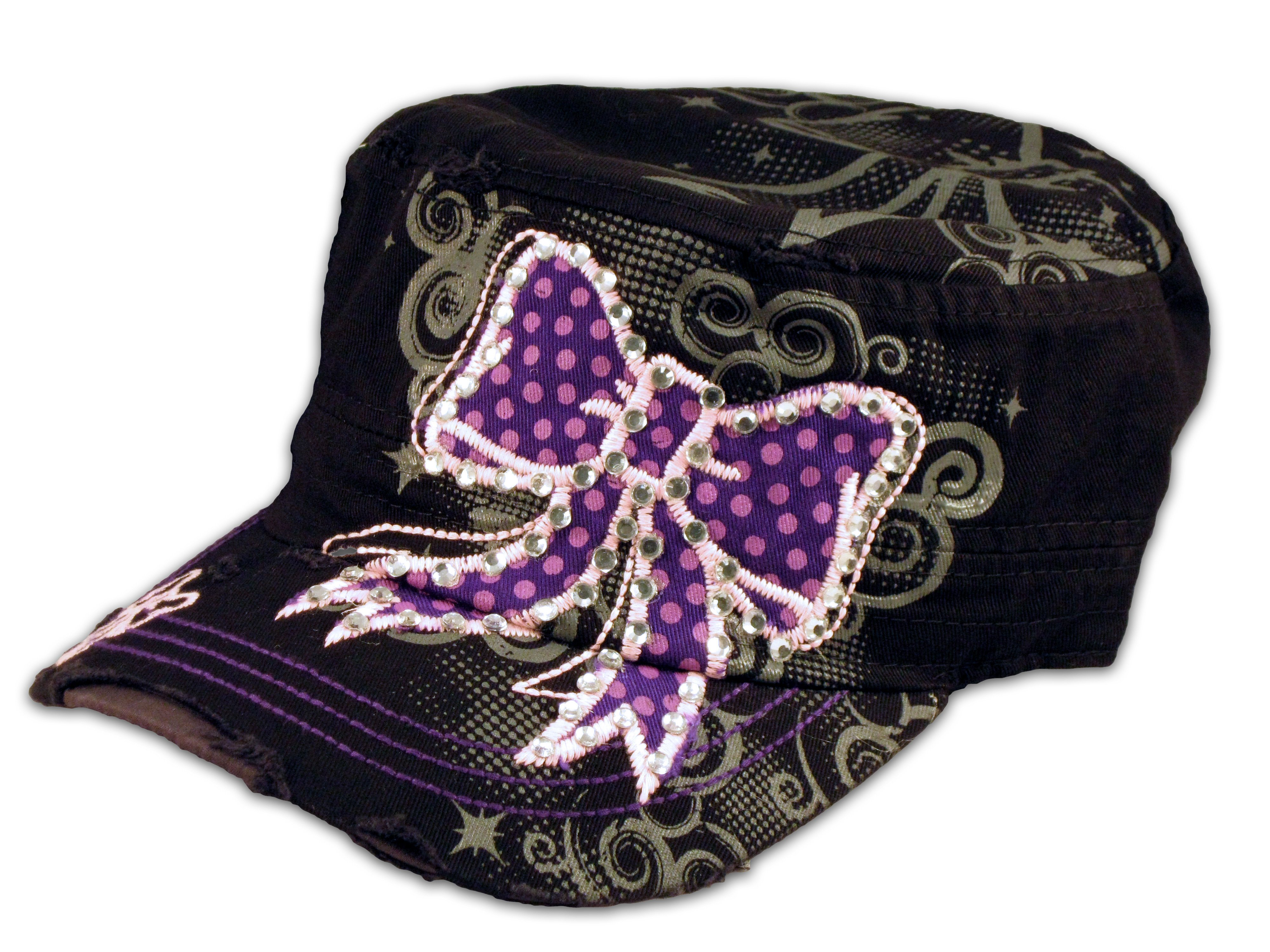 62cbe9dd2f3 Purple Bow on Black Cadet Cap Distressed Military Army Hat - Printed ...
